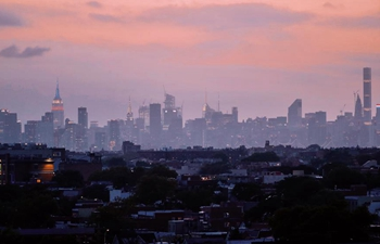 Manhattan skyline seen from Arthur Ashe Stadium in New York City, U.S.
