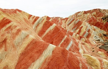 Spectacular scenery of Danxia landform in NW China's Gansu