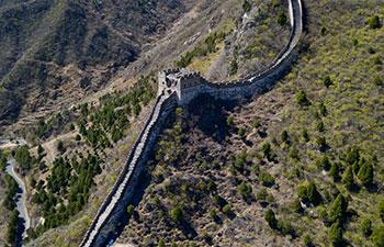 Aerial view of Great Wall in Beijing Xiangshuihu scenic area