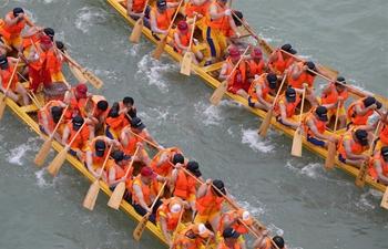 Dragon boat race held to celebrate upcoming Dragon Boat Festival in Hunan