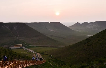 Sunset at Pingding Mountain scenic spot in China's Inner Mongolia