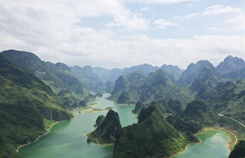 Scenery of Haokun Lake in Baise City, south China's Guangxi