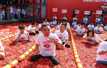 Highlights of chili eating competition in Hangzhou, E China's Zhejiang