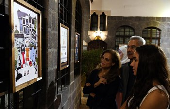 People view pieces of carton work in old city of Damascus