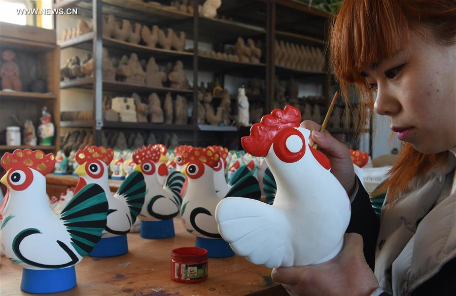 Rooster shaped clay sculptures made for chinese lunar new year china botou clay sculpture year of rooster cn m4hsunfo