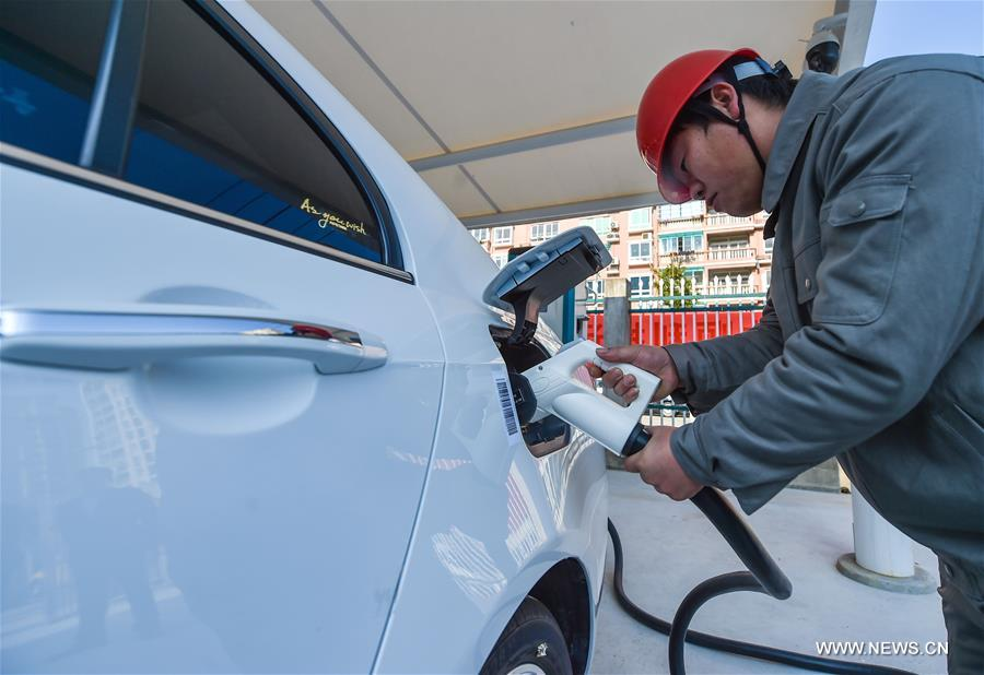 A fast charging station with eight charging piles opened here on Thursday.