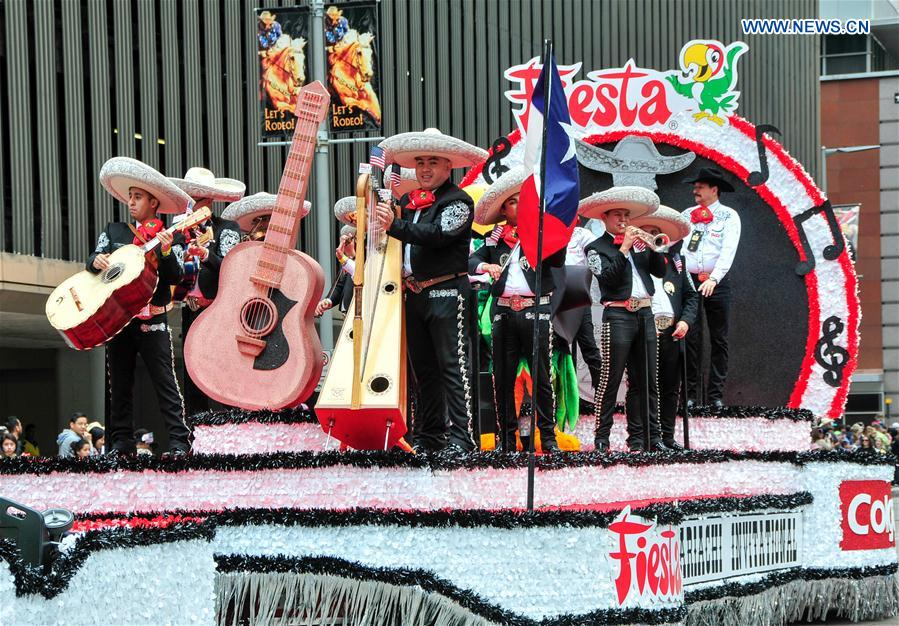 A Mexican band perform during the Houston Rodeo Parade in Houston, the United States, March 4, 2017.