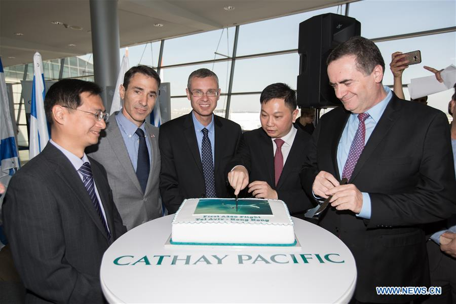Cathay Pacific launched Sunday a new flight route linking Hong Kong and Tel Aviv.