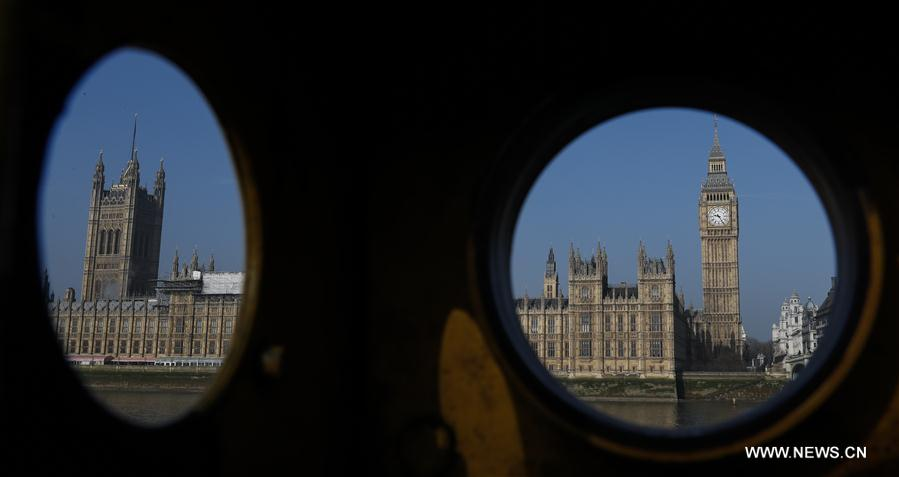 Photo taken on March 28, 2017 shows the Houses of Parliament in London, Britain. Britain will trigger its exit from the European Union on March 29, nine months after the country voted to leave the European Union. (Xinhua/Han Yan)