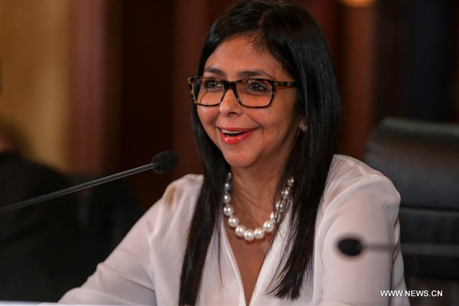 Venezuela's Foreign Minister Delcy Rodriguez addresses a press conference in Caracas, Venezuela, on March 29, 2017.