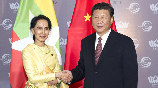 Chinese president meets Myanmar's state counsellor