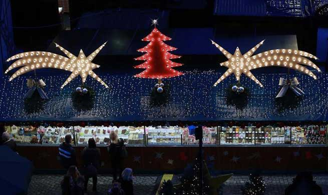 People visit Christmas market after official opening in Frankfurt