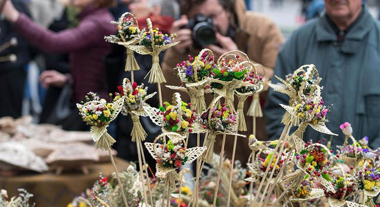 People celebrate Palm Sunday in Vilnius, Lithuania