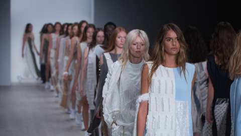 Models present creations at Mercedes-Benz Fashion Week in Sydney