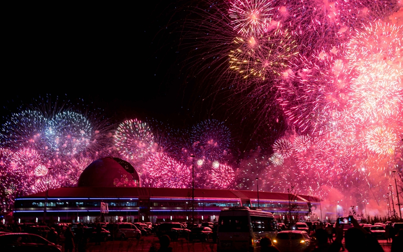 Fireworks explode at opening ceremony of 2017 Astana EXPO