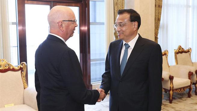 Premier Li meets WEF founder Schwab ahead of Summer Davos