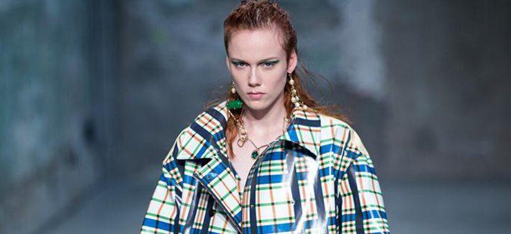 Models walk runway for fashion house Marni in Milan