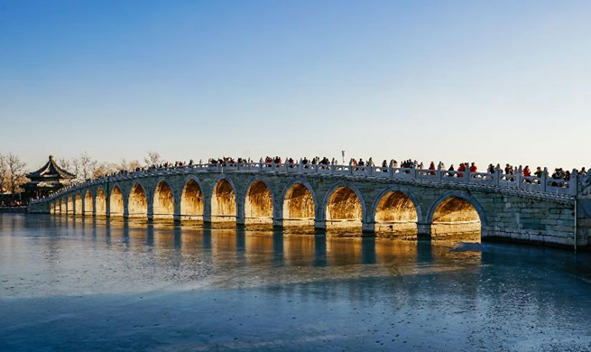 Twilight scenery through Seventeen Arch Bridge in Summer Palace