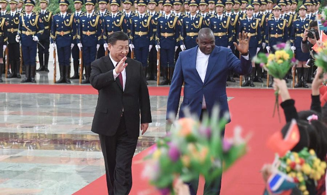 President Xi holds welcome ceremony for visiting Gambian president in Beijing