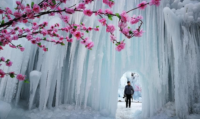 Scenery of frozen waterfall in China's Hebei