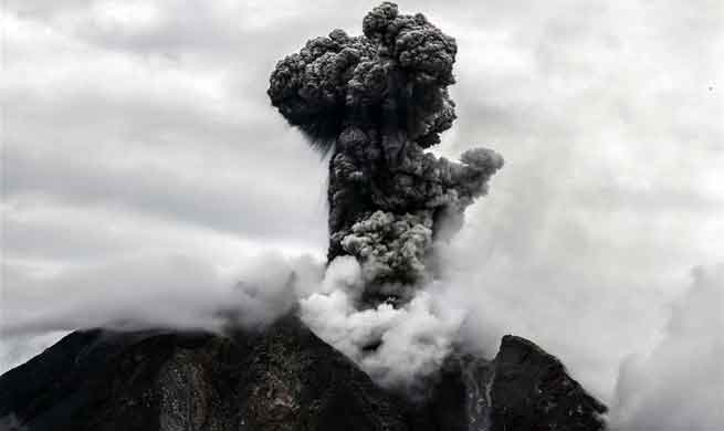 Mount Sinabung spews volcanic ash in North Sumatra, Indonesia