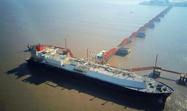 200th liquefied natural gas boat greeted in E China's Yangkou Harbor