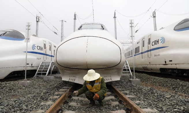 In pics: overhaul service center for bullet trains in Guiyang, SW China
