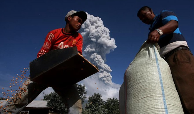 Mount Sinabung spews in North Sumatera, Indonesia