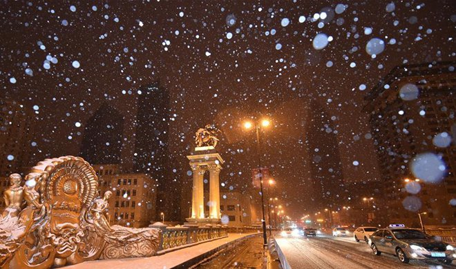 Tianjin greets first snowfall this winter