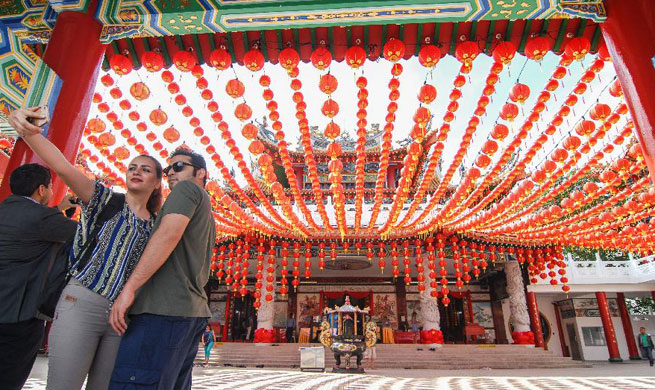 Red lanterns set for Chinese lunar new year in Kuala Lumpur, Malaysia