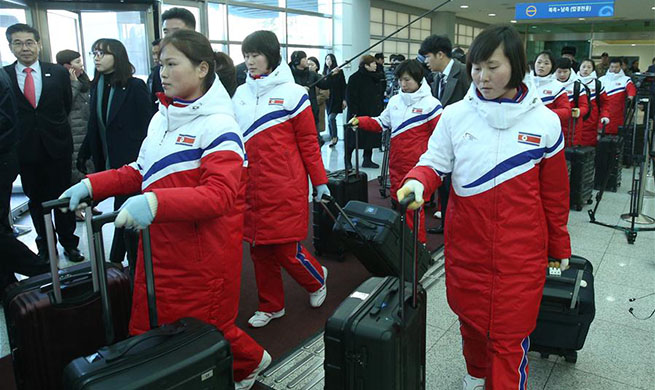 DPRK Women's ice hockey team arrive in S.Korea