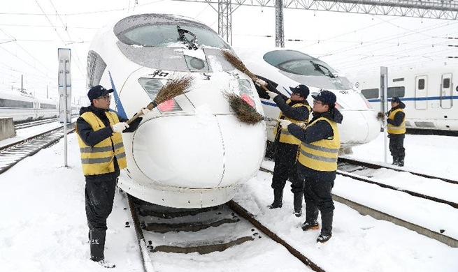 Trains influenced by snowfall stop at maintenance station in China's Anhui