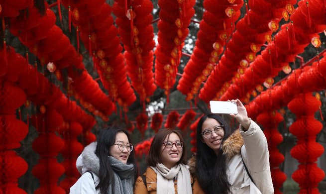 Beijing's Temple of Earth Park decorated to greet Spring Festival
