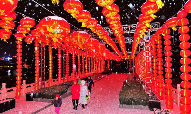 Lanterns lit up in Weifang, E China's Shandong