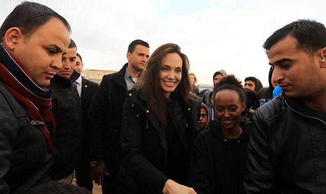 UNHCR special envoy Angelina Jolie visits Zaatari refugee camp in Jordan
