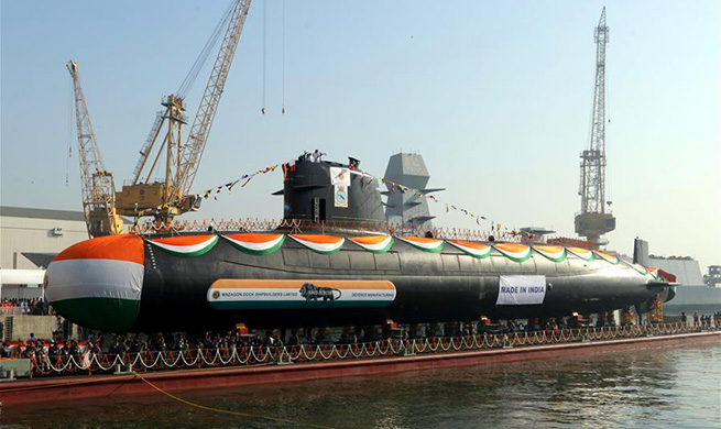 India launches 3rd Scorpene-class submarine