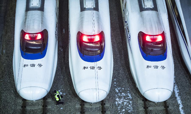High-speed trains in Wuhan maintained for Spring Festival travel rush