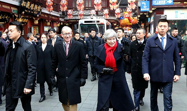 British PM Theresa May visits Yuyuan Garden in Shanghai