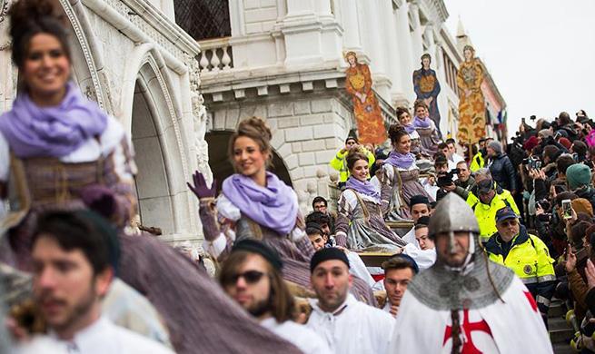 """Festa delle Marie"" parade held during Venice Carnival in Italy"