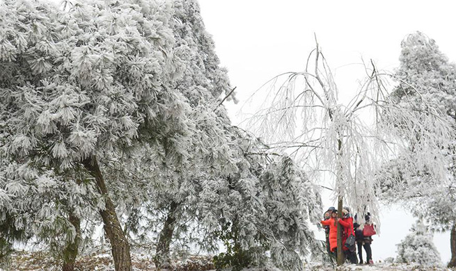 Tourists enjoy frost scenery in Guiyang, SW China's Guizhou