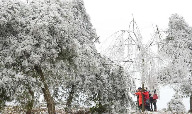 Tourists enjoy frost scenery in Guiyang, SW China's Guizhou