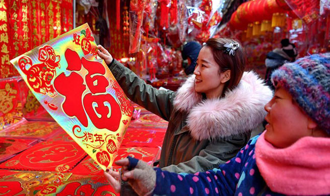 Market in N China embraces brisk trade before spring festival