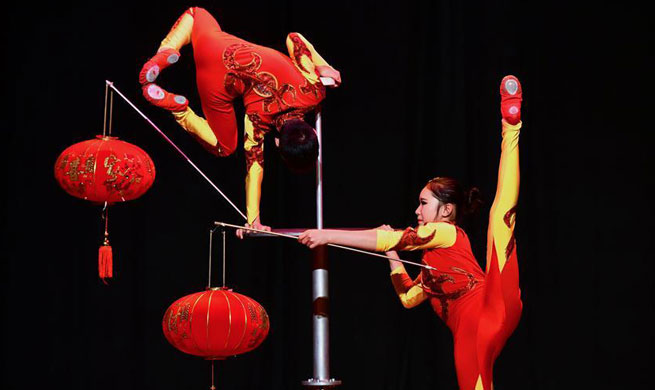 Artists of Chinese Wuhan Acrobatic Troupe perform in Doha