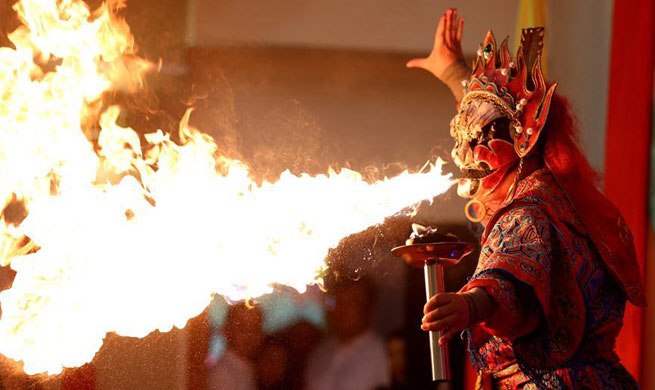 Artists perform to celebrate upcoming Chinese New Year in Myanmar