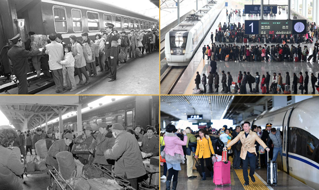 Snapshots of Chinese returning home during Spring Festival travel rush
