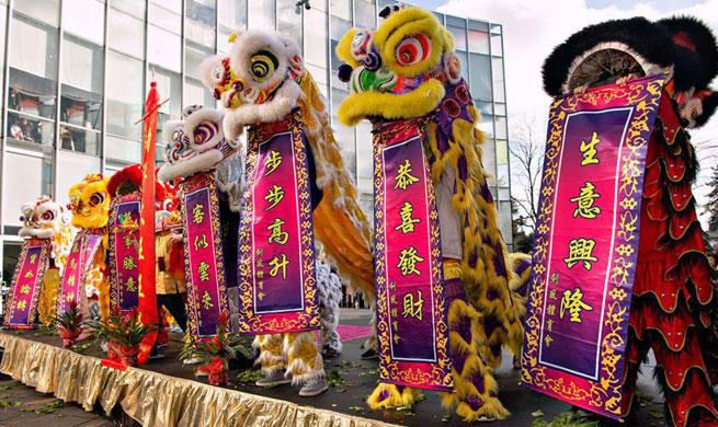 Lion dance performed to celebrate Spring Festival in Richmond, Canada