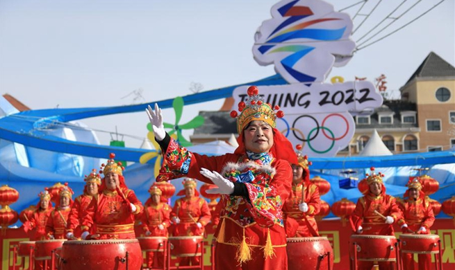 People perform Yangge dance in Hebei