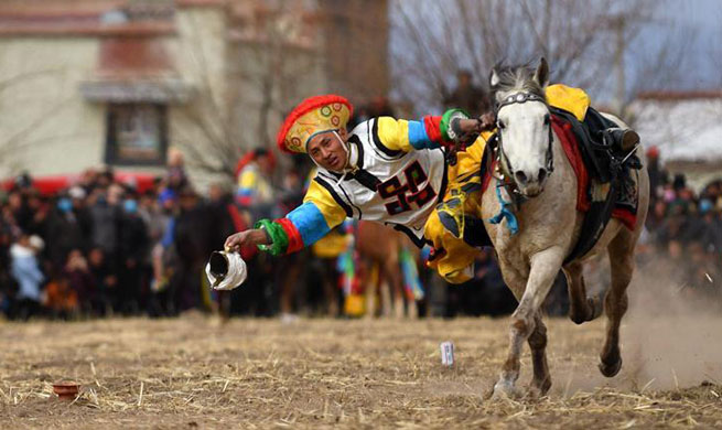 Highlights of equestrian event in Lhasa, SW China's Tibet