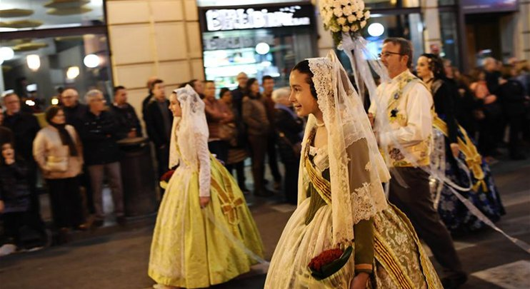 Fallas Festival parade held in Valencia, Spain