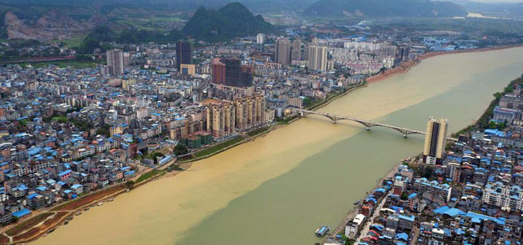 Scenery of Rongjiang river after heavy rainfalls in S China's Guangxi